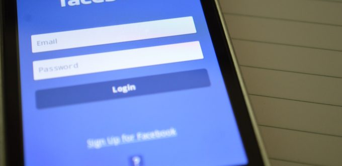 login screen for Facebook on phone