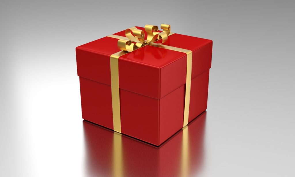 Red gift-wrapped present