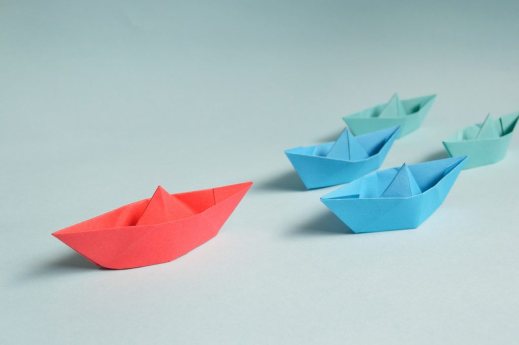 Paper origami boats